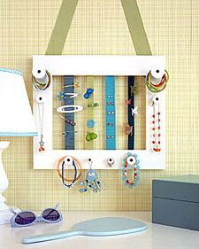 Found many ideas for making one of these for my little one but adding the knobs for ponies is a great idea Jewelry Holder, Jewelry Storage, Earring Storage, Barrette Holder, Ponytail Holders, Hair Tie Holder, Hair Elastic Storage, Hair Band Storage, Hair Clip Organizer