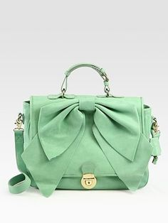 put a bow on it with Valentino - adorable! Love the color. #green #purse