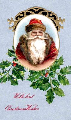 Santa with holly and red berries in the background.