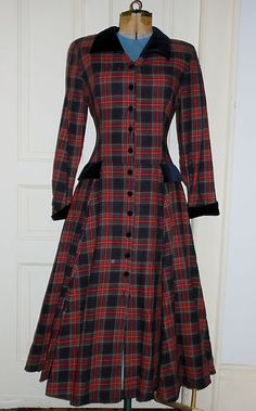 Laura Ashley Red Plaid Victorian Edwardian Style Riding Dress Made in England...can see this with boots and hat
