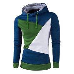 IZZUMI Stylish Color Block Spliced Slim Fit Casual Long Sleeve Hoodies For Men