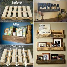 DIY Pallet Wall Wine/Book Shelf