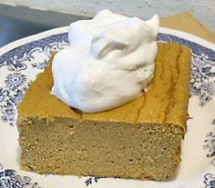 Pumpkin Bake (with cream cheese) ---- My family loved this (my 3 year old nearly licked her plate clean and asked for more) and I thought it was pretty good. It is not overly sweet, which I like. I had to cook it quite a bit longer than the recipe called for.