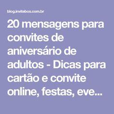 20 mensagens para convites de aniversário de adultos - Dicas para cartão e convite online, festas, eventos e RSVP - InviteBox