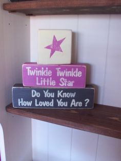 twinkle blocks pink... This is sweet for a child's room. BTW - can be done in blue too...
