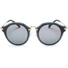 Miu Miu Round Sunglasses, 53mm (7.111.375 IDR) ❤ liked on Polyvore featuring accessories, eyewear, sunglasses, miu miu eyewear, miu miu, miu miu sunglasses, round frame sunglasses and round frame glasses