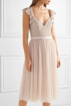 Pastel-pink georgette and tulle  Concealed zip fastening along back 100% nylon; trim: 100% polyester; lining: 100% polyester Dry clean Designer color: Petal Pink