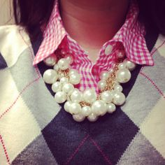 Pink gingham with chunky pearls and argyle sweater