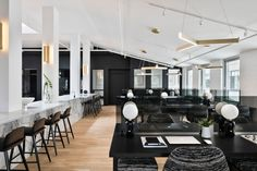 The New Work Project in Brooklyn is a modern co-working space with a black and white interior design, made for creatives to get work done. Workspace Design, Office Interior Design, Office Interiors, Office Designs, Room Interior, Coworking Space, Design Ppt, Design Case, Design Concepts