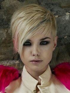 Long bangs platinum blonde +pink pixie cut