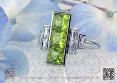 Peridots and french cut diamonds in a unique right hand ring by Leon Mege