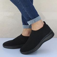 Plus Size Shoes Women Casual Knitting Sock Sneakers Stretch Flat Ladies Slip On Shoes Leisure Flats Espadrilles Color Black Shoe Size 5 Ladies Slips, Loafers For Women, Shoes Women, Sneakers Women, Women Sandals, Sock Shoes, Flat Shoes, Slip On Sneakers, Running Sneakers
