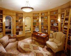 I like circular rooms and built-in bookshelves...