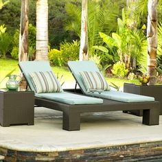 Double pool side patio pleasure..NCI - Melrose Wicker Double Adjustable Chaise Lounge - http://www.allbackyardfun.com/patio-furniture/lounges-and-daybeds/hamtpon-wicker-double-adjustable-chaise-lounge/