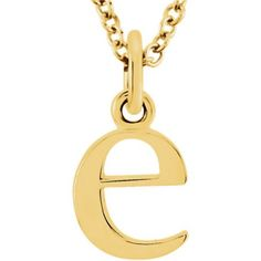 The Abbey Lower Case initial 'e' Necklace in Yellow Gold, 16 Inch, Women's, Size: 16 Inches Locket Necklace, Initial Necklace, Gold Necklace, Necklaces, Bow Jewelry, Jewelry Gifts, Initial Pendant, Jewelry Companies, 14 Karat Gold
