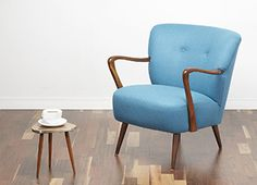 A striking 1950s wingback cocktail chair. Glamorous and lovely design with beautiful curved back and tapered and splayed legs. Reupholstered in a gorgeous turquoise wool. www.viremo.co.uk Danish Modern, Mid-century Modern, Cocktail Chair, Modern Armchair, Interior Inspiration, Modern Furniture, 1950s, Accent Chairs, Upholstery