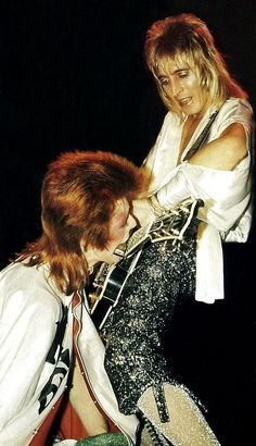 """soundsof71: """"David Bowie making a harmonica look lewd, with Mick Ronson """""""