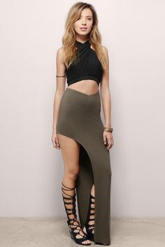 Expose It All Asymmetric Maxi Skirt