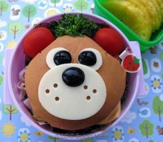 Bear sandwich - cheese, olives, tomatoes, broc.
