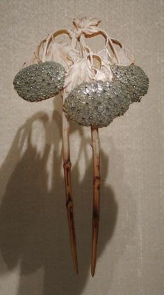 Lalique hortensias comb made from ivory and enamel, c. 1902. It resides at the Gulbenkian Museum in Lisbon. Photograph: Phillipe Truong.