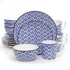 Gibson Studio Fleur De Mer 16-Piece Dinnerware Set, Blue with Brown Rim