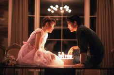 Still of Molly Ringwald and Michael Schoeffling in Sixteen Candles.
