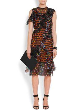 Givenchy - Ruffled Polka-dot Silk-chiffon Dress - Black - FR