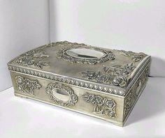 Vintage GODINGER Large Trinket JEWELRY BOX SILVER PLATED