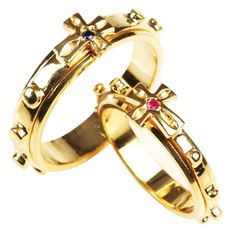 14K Gold Latin Cross Rosary Ring for men(6.4gram) with natural stone