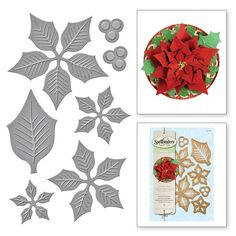 Shapeabilities® Layered Poinsettia Etched Dies Christmas Holiday for winter and Christmas paper crafts and cardmaking Christmas Bows, Christmas Cards To Make, Christmas Projects, Christmas Holidays, Christmas Paper, Xmas Cards, Poinsettia Cards, Christmas Stencils, Christmas Crafts