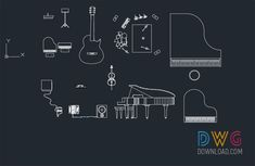 Music Equipment Cad Blocks. Is an AutoCAD dwg file that contains various musical instruments and equipment drawings.And about cad blocks, musical instruments dwg, cad blocks free, piano dwg, guitar details dwg, guitar dwg.