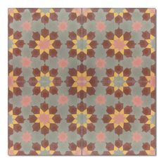 This playful geometric pattern is sure to work well in both contemporary and traditional environments, and can be enjoyed both indoors and outdoors for many years. Crafted of cement and granite, this tile offers true Moroccan craftsmanship.