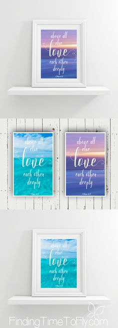 I love this printable Bible verse! 1 Peter Above all else love each other deeply. Great for a Valentine's Day card, anniversary card, or a framed print gift.