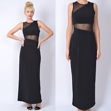 Vintage 80s 90s Mesh Cutout Midriff Maxi Dress Cocktail Party Sheer illusion S