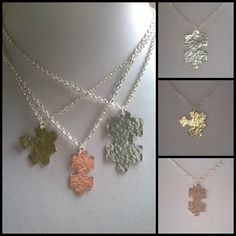 Jigsaw puzzle piece pendants I made today in copper, aluminium and brass. Copper, Brass, Handmade Jewellery, Puzzle Pieces, Jigsaw Puzzles, Crochet Necklace, Sketches, Pendants, Necklaces