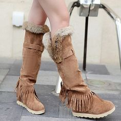 Nubuck Leather Buckle Tassels Boots
