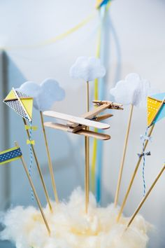 Kite and Plane and clouds cake topper. Great for a vintage plane party.