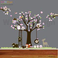 Vinyl Wall decal stickers swing tree set with,owls,birds,deer,bear,fox.woodland animals nursery wall decal on Etsy, $265.00