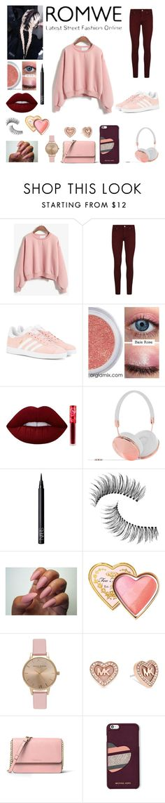 """""""That special pink sweater"""" by sofia-71415 ❤ liked on Polyvore featuring Paige Denim, adidas Originals, Lime Crime, Frends, NARS Cosmetics, Trish McEvoy, Too Faced Cosmetics, Topshop, Michael Kors and MICHAEL Michael Kors"""