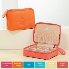 This compact beauty, fashioned in a rich, full-grain leather is a travelers best friend. With six individual cubbies and an elasticized gathered pouch, our Personalized Leather Mini Zip-Around Jewelry Case offers maximum organization for smaller accessories like earrings, rings, pendants and chains.