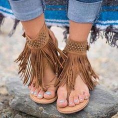 332dd9797c4 Bohemian Flat Tassels Casual Sandals. SupermodelsFringe SandalsAnkle Wrap  SandalsFlat SandalsShoes ...