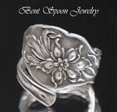 Silver Spoon Ring Antique Silverware Sterling by Bentspoonjewelry