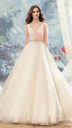 papilio 2017 bridal sleeveless v neck wrap over ruched bodice pink top princess ball gown a  line wedding dress v back chapel train (flamingo) mv -- Papilio 2017 Wedding Dresses