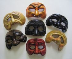 Commedia Dell'Arte Masks portraying many emotions. These masks tell a lot about the character's personality!