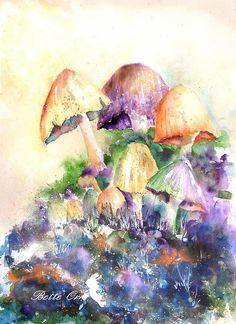 Mushroom Party Painting by Bette Orr - Mushroom Party Fine Art Prints and Posters for Sale
