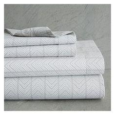 west elm organic chevron stripe sheet set twintwin xl feather gray