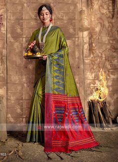 Raw Silk Mehndi Green Saree... Lehenga Choli, Silk Sarees, Green Saree, Green Silk, Wedding Wear, Western Wear, Mehndi, Best Sellers, Lounge Wear