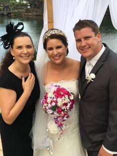 Gorgeous Twin Waters Resort wedding #novoteltwinwatersresort on the Sunshine Coast. Beautiful beach bride with shell adorned bouquets. Suzanne Riley Wedding Celebrant Sunshine Coast