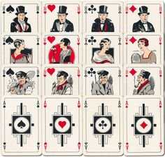 Sikar Speelkaartenfabriek Nederland, Amsterdam, 1935 Publicity playing cards for the Dutch credit company Sitters & van der Kar. The four Kings wear fashionable dress of the time, including top hat and tails, whilst the working class Jacks are less pretentious. The four Aces and Joker feature abstract geometric designs in the style of Art Deco. The overall colour scheme is somewhat subdued. via World of Playing Cards