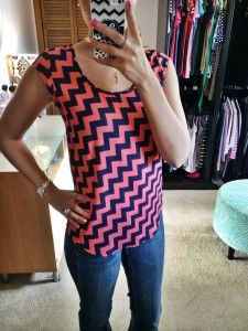 Stitch Fix pink & blue chevrons. Dig this pattern and colors together, and the cap sleeves.